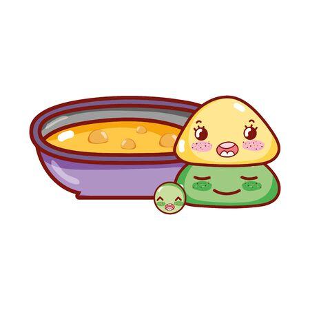 soup wasabi pea character cartoon, sushi and rolls