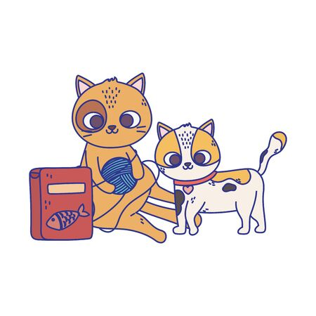cats make me happy, cute cats playing ball of wool and food cartoon vector illustration