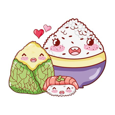 rice sushi and wrapped food japanese cartoon, sushi and rolls