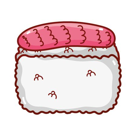rice fish food japanese menu cartoon isolated icon