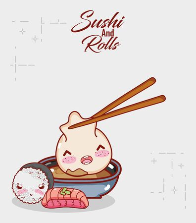dumpling in sauce rice and fish food japanese cartoon, sushi and rolls 版權商用圖片 - 142714948