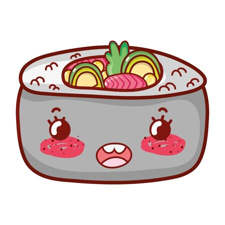 sushi rice vegetables cartoon, sushi and rolls