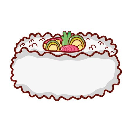 vegetables in roll rice food japanese menu cartoon isolated icon