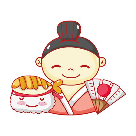 geisha suhsi kawaii food japanese fan cartoon, sushi and rolls 版權商用圖片 - 142714960