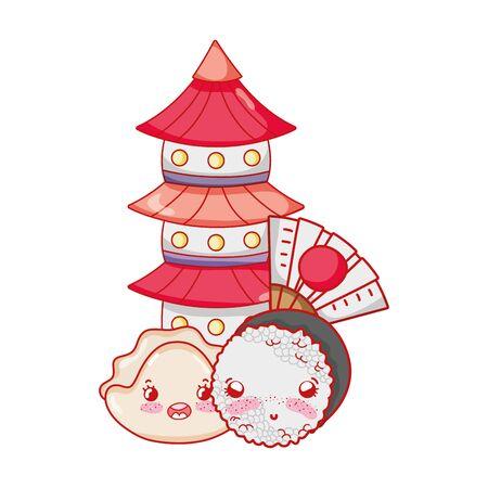 kawaii sushi pagoda and japanese cartoon, sushi and rolls