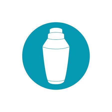 drinks cocktail shaker metal equipment bar vector illustration blue block style icon