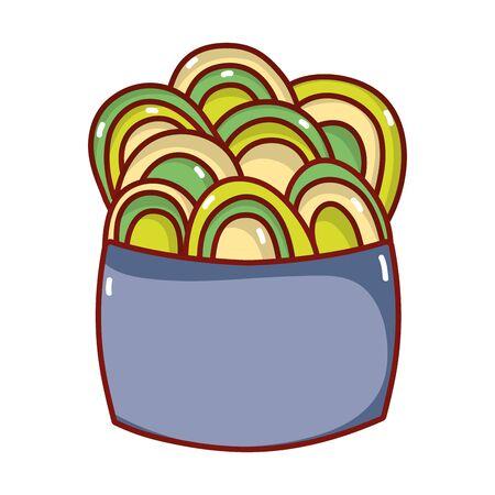 salad food japanese menu cartoon isolated icon