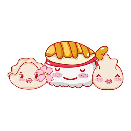 kawaii sushi dumpling and cookie with food japanese cartoon, sushi and rolls 向量圖像