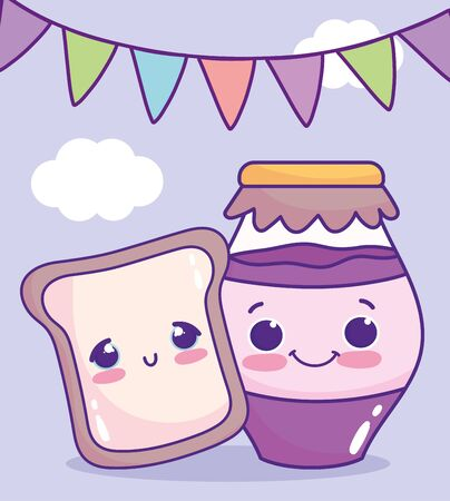 cute food bread and jar with jam flags sweet dessert pastry cartoon vector illustration