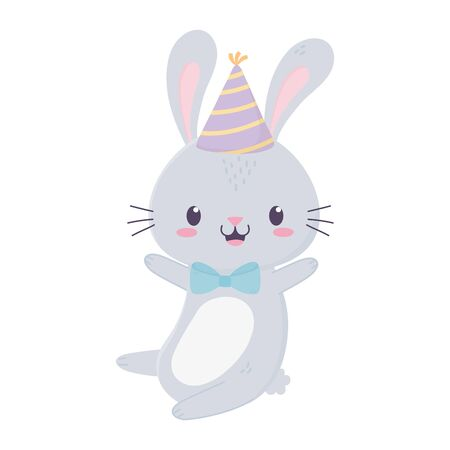happy birthday cute rabbit party hat bow tie animal cartoon vector illustration