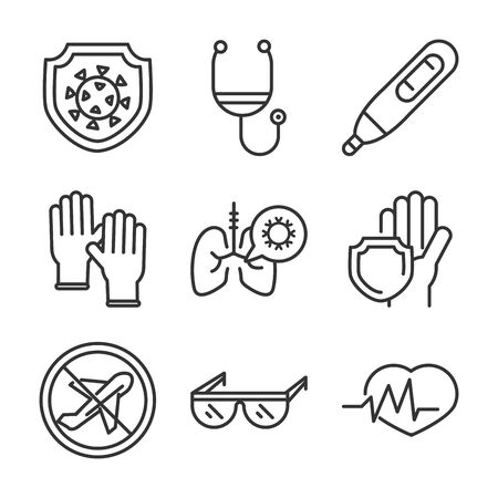 virus covid 19 pandemic respiratory pneumonia disease icons set line style icon