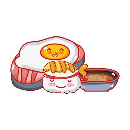 kawaii fried egg sushi and food japanese cartoon, sushi and rolls