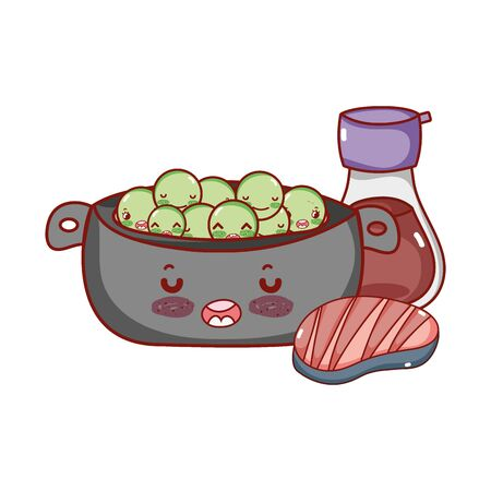 kawaii cooking pot peas meat and sake food japanese cartoon, sushi and rolls 版權商用圖片 - 142715021