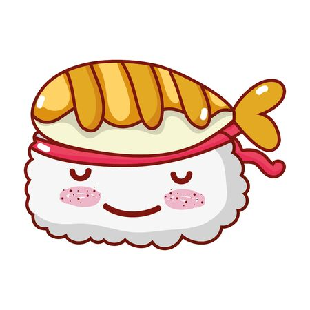 kawaii sushi rice tempura fish cartoon, sushi and rolls