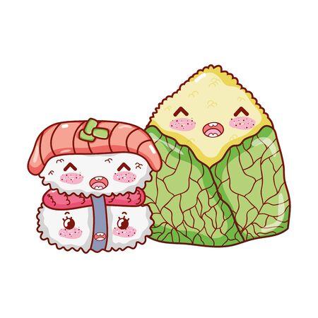 kawaii rice cake food japanese cartoon, sushi and rolls 向量圖像