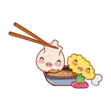 kawaii dumpling in sticks sauce tempura wasabi food japanese cartoon , sushi and rolls 向量圖像