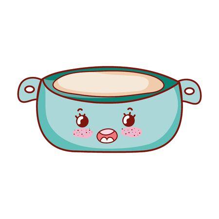 kawaii cream bowl food cartoon isolated icon 向量圖像