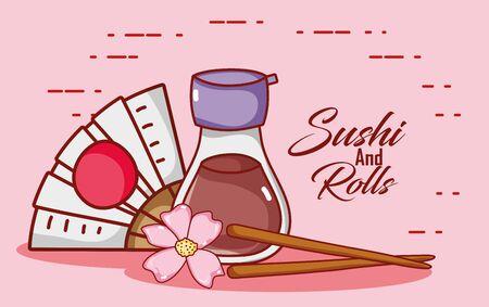 kawaii sake fan chopsticks and sakura flower food japanese cartoon , sushi and rolls