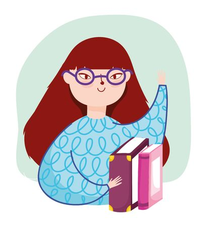 young woman wearing glasses and books literature, book day
