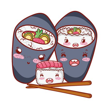 kawaii sushi and temaki sticks food japanese cartoon, sushi and rolls 版權商用圖片 - 142715055