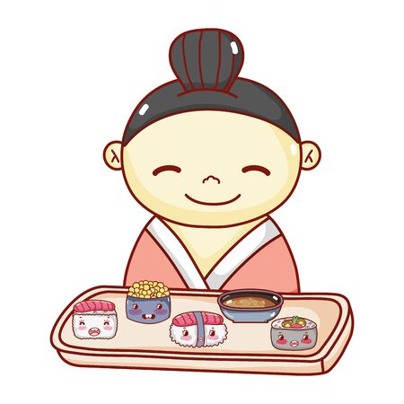 geisha with tray sushi soup rice food japanese cartoon, sushi and rolls 向量圖像