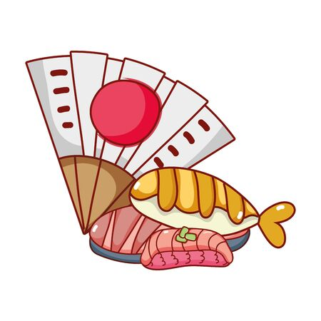 fan and sushi rice fish kawaii food japanese cartoon, sushi and rolls