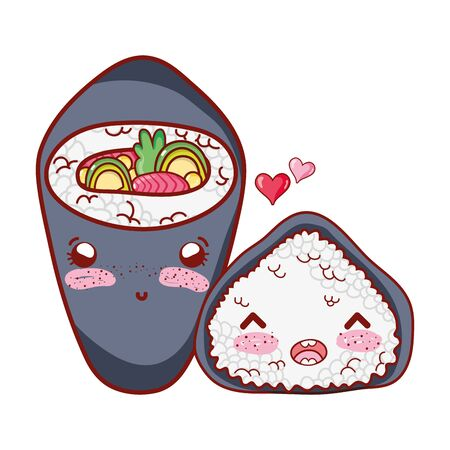 kawaii temaki and rice roll love food japanese cartoon, sushi and rolls