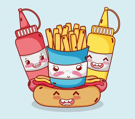 fast food cute french fries hot dog mustard and sauce cartoon