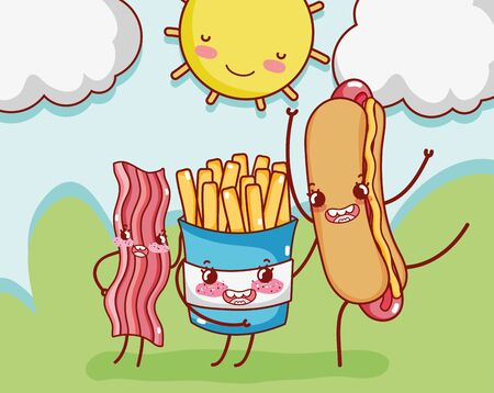 fast food cute french fries bacon and hot dog in cartoon 版權商用圖片 - 142715117