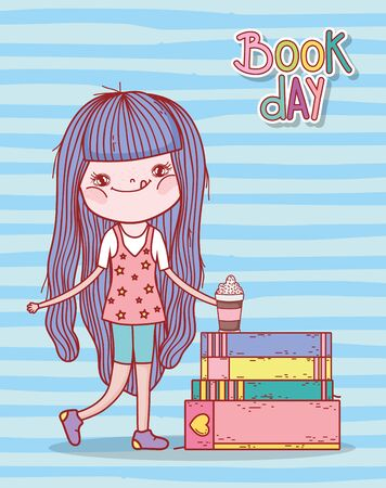little girl with smoothie and stacked books stripes background vector illustration