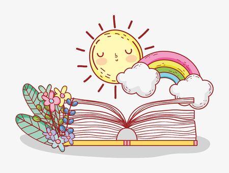 open book rainbow clouds sun flowers foliage