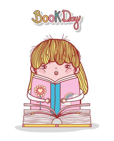 little girl reading book literature cartoon