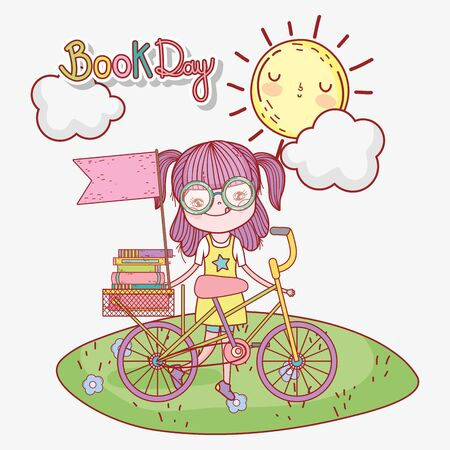 cute girl with books in bike with outdoor cartoon Çizim