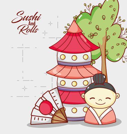 little geisha and pagoda japanese cartoon, sushi and rolls 向量圖像