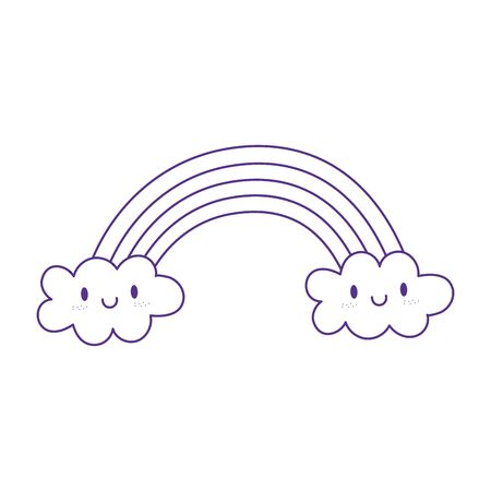 rainbow clouds fantasy magic cartoon icon design white background line style