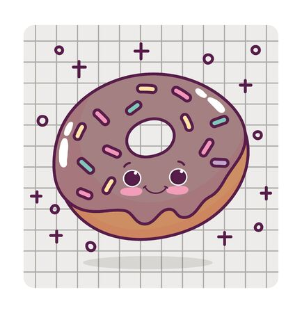 food cute chocolate donut love heart drawing paper cartoon vector illustration