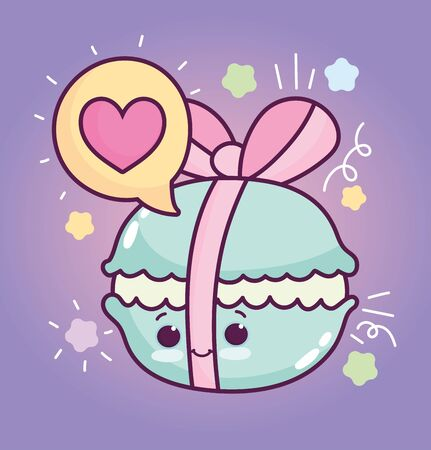 food cute wrapped macaroon bow love cartoon