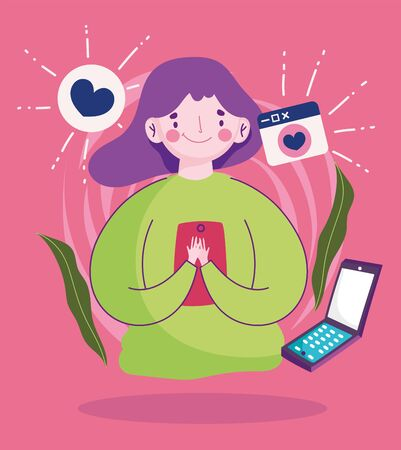 young woman using smartphone talking bubble love cartoon vector illustration
