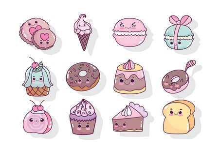 food cute candy sweet donut cookie biscuit ice cream cake cupcake cartoon icons vector illustration