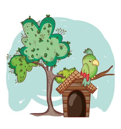 cute animals, parrots in branch tree cartoon