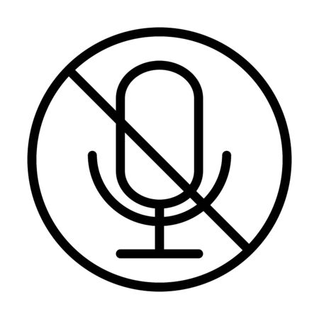 microphone audio muted sound line style icon vector illustration 일러스트