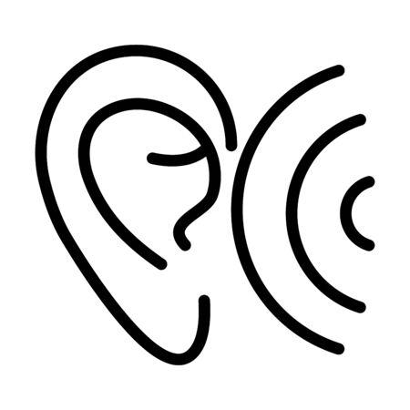 ear wave audio sound line style icon vector illustration 일러스트