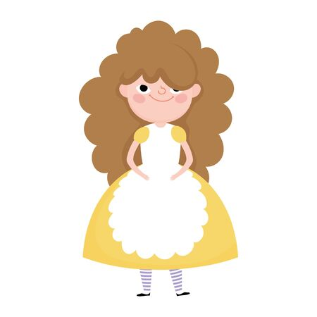 cute little girl princess cartoon character in dress with apron