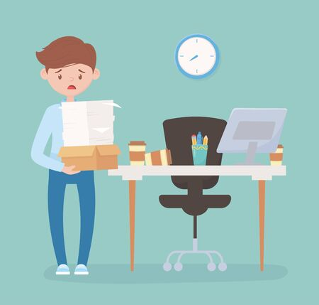 stressed employee with many papers and box in office work frustration stress vector illustration
