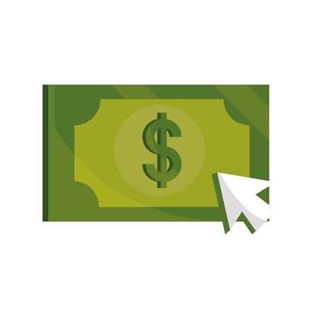 payments online, banknote money cash clicking vector illustration flat icon shadow