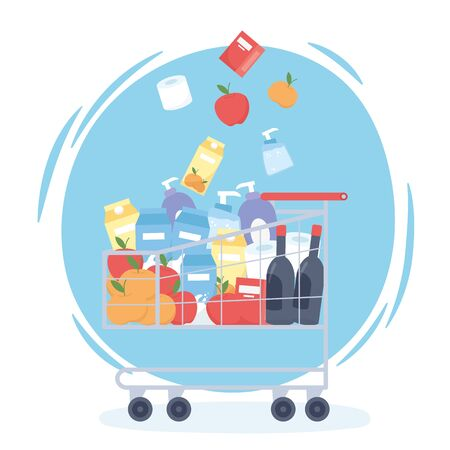 falling food beverages fruits in market cart hoarding excess purchase vector illustration