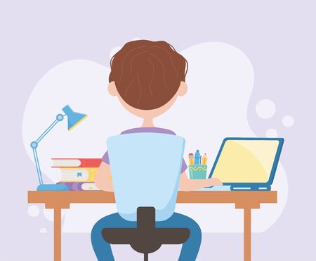 education online student boy typing in computer with books and lamp in desk vector illustration