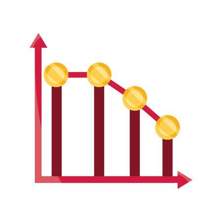 graph down arrow money stock market crash isolated icon Illustration