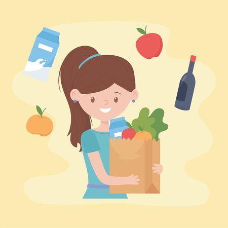 Femme avec sac en papier supermarché achat excédentaire achat excédentaire
