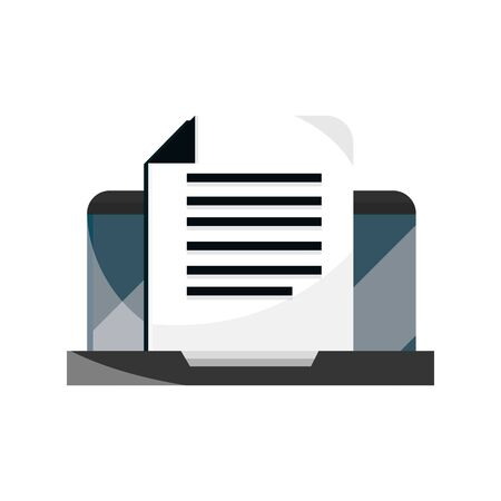 laptop document information online education isolated icon shadow